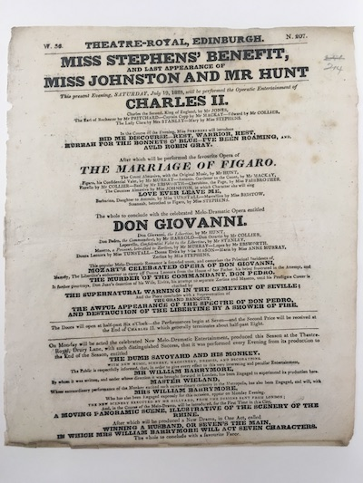 Photograph showing a playbill for opera performances at the Theatre Royal, Edinburgh, 19 July 1828 (courtesy of the Scottish Theatre Archive)