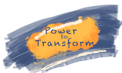 Image showing the project logo for the 'Power to Transform' research project showing the project name, 'Power to Transform' on a background of blue and orange paint brush strokes