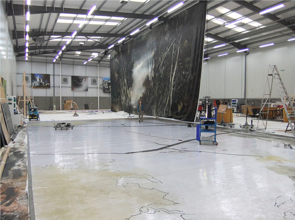 Photograph showing an example of the large-scale studio space used for painting stage cloths (copyright John Macfarlane)