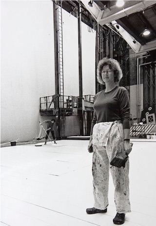 Black and white portrait photograph of Hilary Vernon-Smith, formerly head scenic artist at National Theatre (copyright Hilary Vernon-Smith/National Theatre)