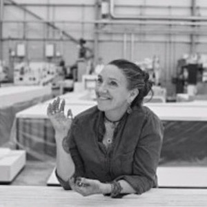 Black and white portrait photograph of Emma Troubridge, head of scenic art at the Royal Opera House (copyright Emma Troubridge)