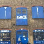 Colour photograph showing the exterior of Flints at Harkers Studio, Southwark, London, 2017 (courtesy of Flints Hire & Supply Limited)